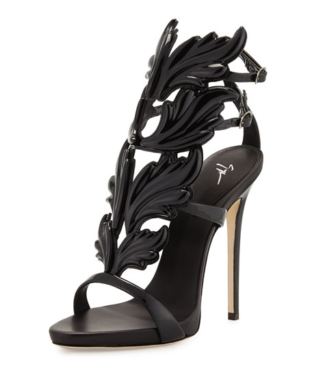 Coline Wings Patent 110mm Sandal, Nero