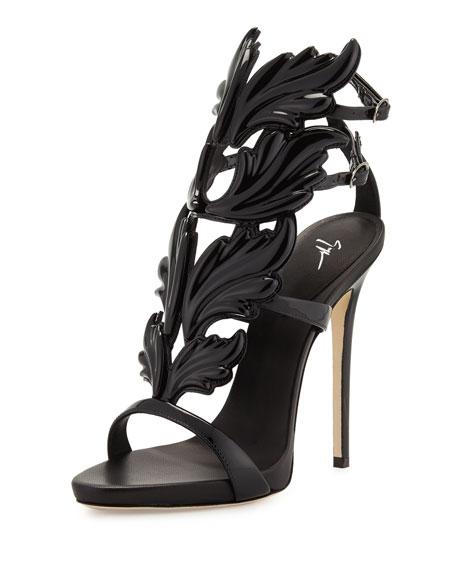 Coline Wings Patent 110mm Sandal, Nero