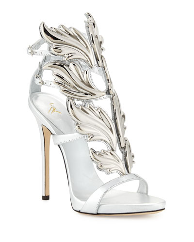 Coline Wings Leather High-Heel Sandal, Argento