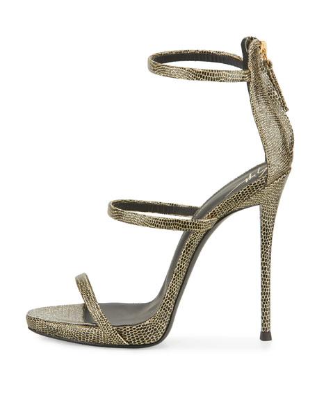 Coline Embossed Triple-Strap 110mm Sandals