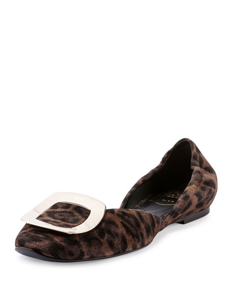 Ballerine Chips Suede d'Orsay Flat, Leopard
