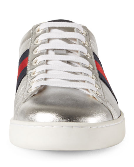 New Ace Leather Low-Top Sneaker, Silver