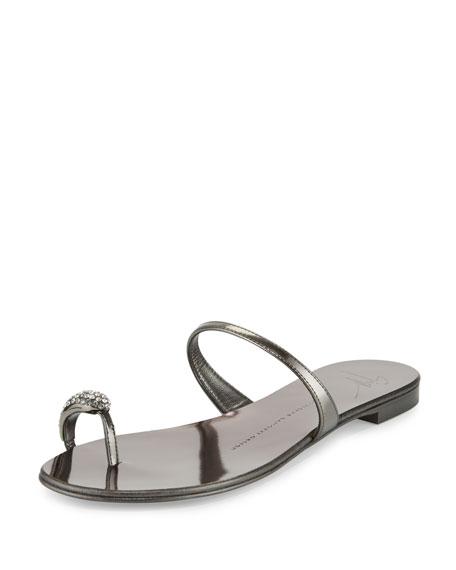 Giuseppe Zanotti Metallic Crystal Toe-Ring Flat Sandal,