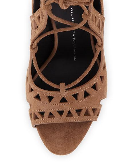 Coline Laser-Cut Suede 110mm Sandal, Lepre