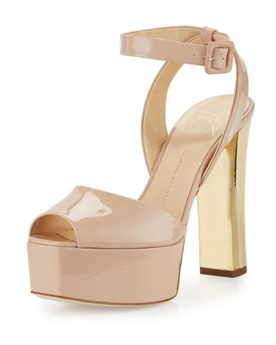 Lavinia Patent Platform Sandal, Blush