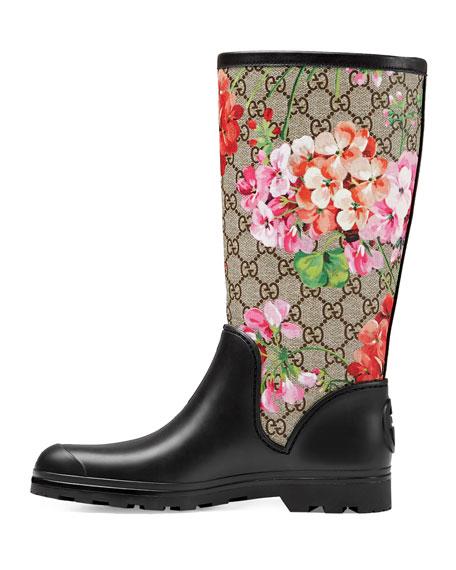 Prato GG Blooms Rain Boot, Multi/Pink