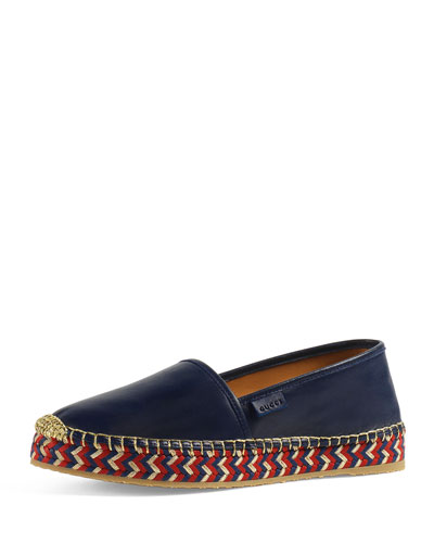 Pilar Leather Espadrille, Blue