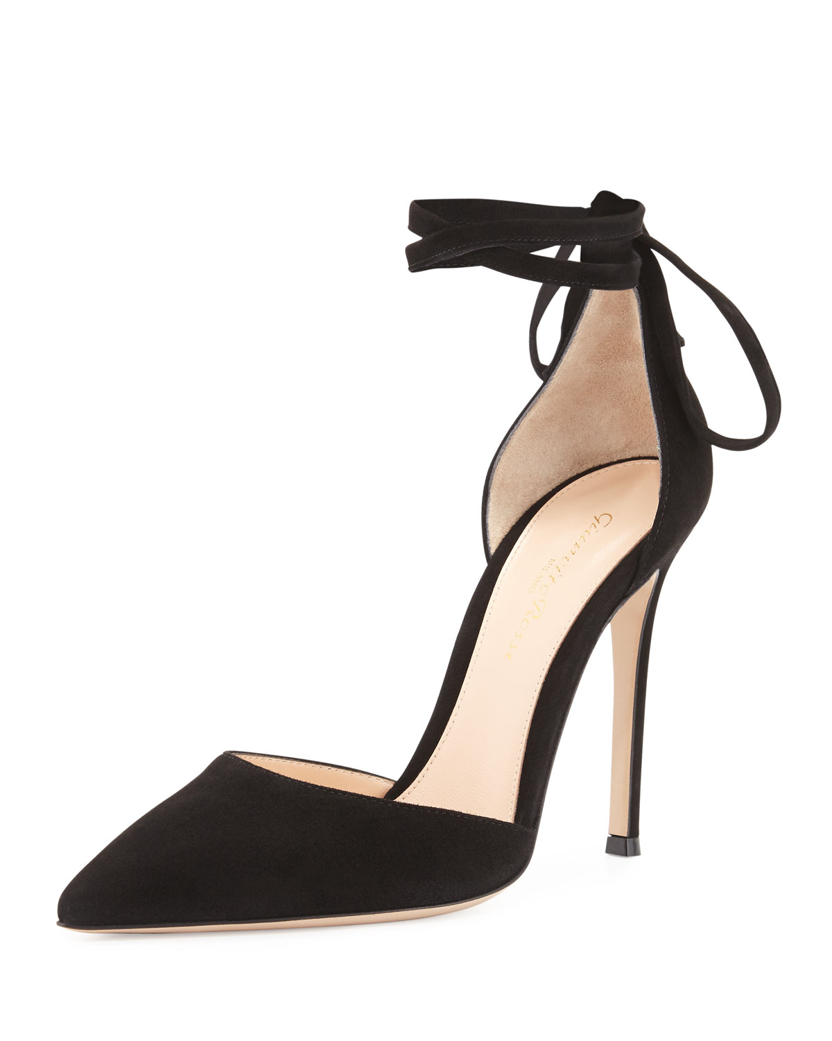 a3ce9727f Gianvito Rossi Suede Pointed-Toe Ankle-Wrap Pump, Black   Neiman Marcus