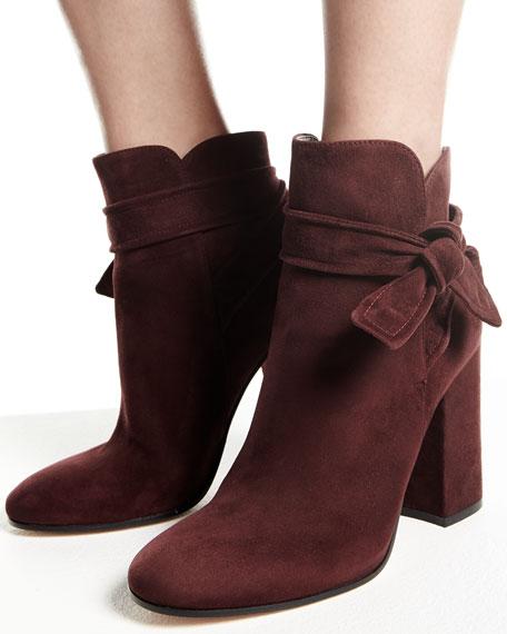 Leslie Suede Ankle-Tie Bootie