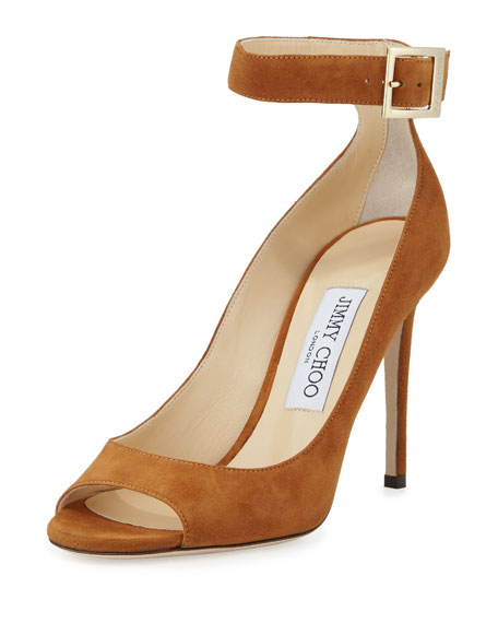 Jimmy Choo Henna Suede Open-Toe Ankle-Wrap Pump, Canyon