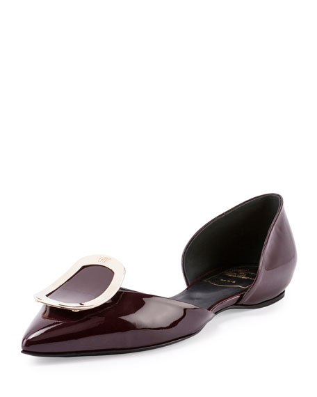 Roger Vivier Sexy Choc Patent Ballerina Flat, Burgundy