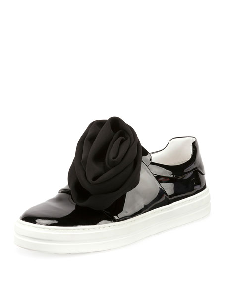 Rosette Patent Slip-On Sneaker, Black