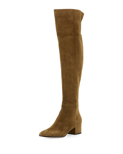 Suede Over-the-Knee 45mm Boot, Military