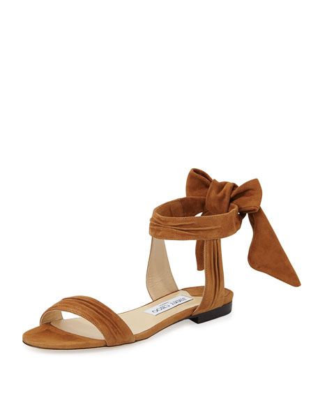 Jimmy Choo Kora Suede Ankle-Wrap Flat Sandal, Canyon