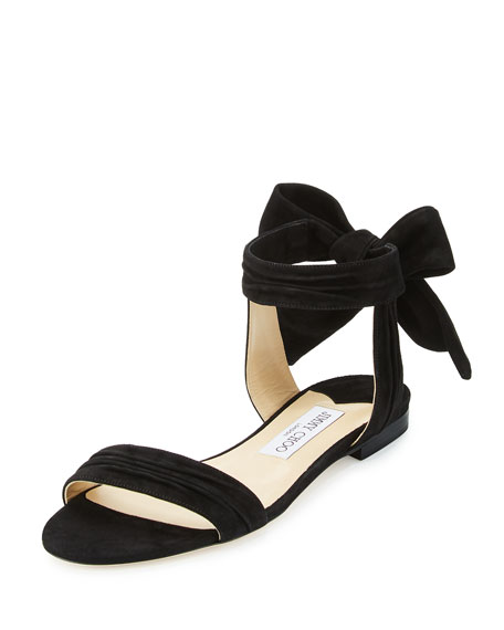 Jimmy Choo Kora Suede Ankle-Wrap Flat Sandal, Black