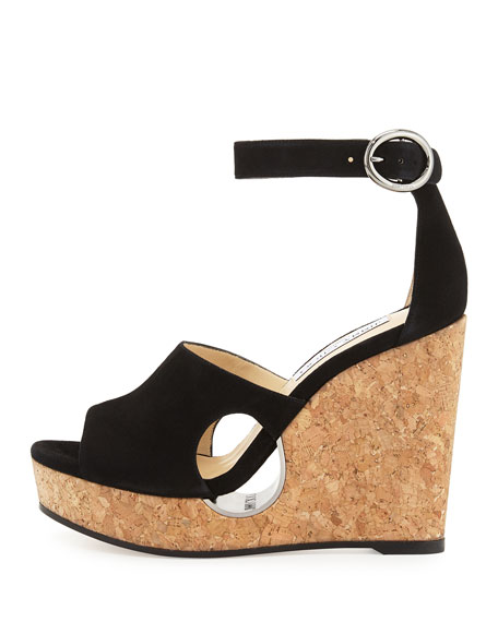 Neyo Suede/Cork Ankle-Wrap Wedge Sandal, Black
