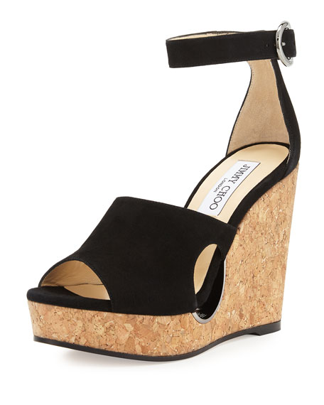 Jimmy Choo Neyo Suede/Cork Ankle-Wrap Wedge Sandal, Black