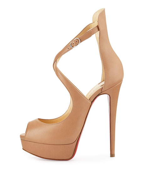 Marlenalta Leather 150mm Red Sole Pump, Nude