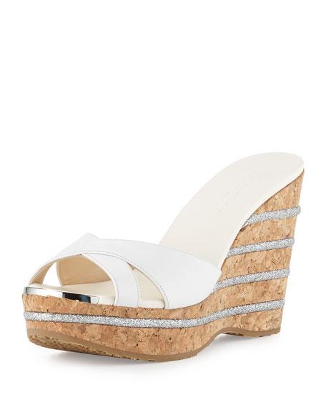 Jimmy Choo Perfume Leather Wedge Slide Sandal, Optic
