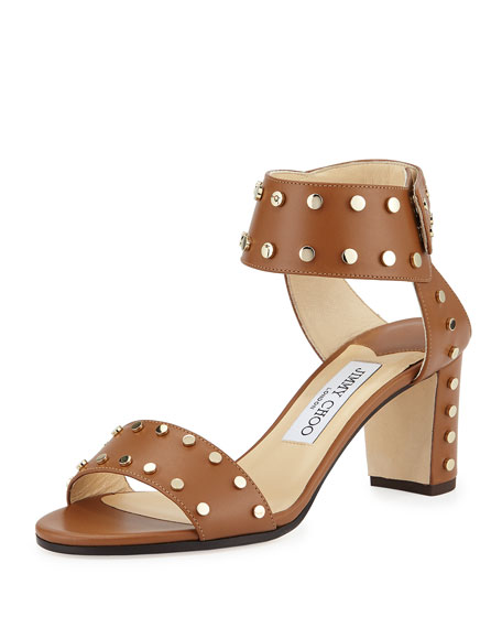 Jimmy ChooVeto Studded Leather 65mm Sandal, Canyon/Gold