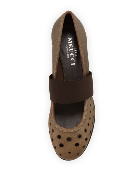 Abia Perforated Ballet Flats, Bronze