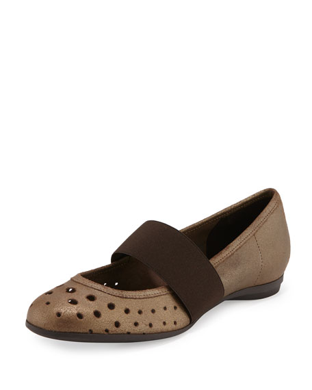 Abia Perforated Ballerina Flat, Bronze