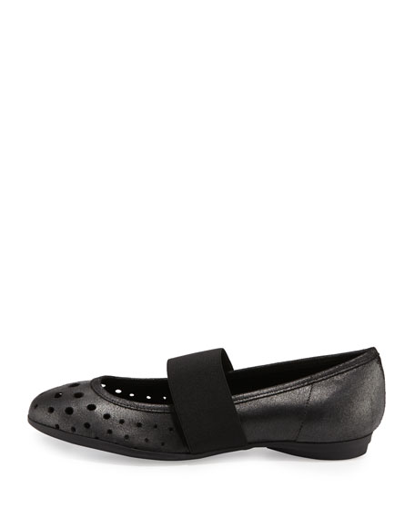 Abia Perforated Ballerina Flat, Black
