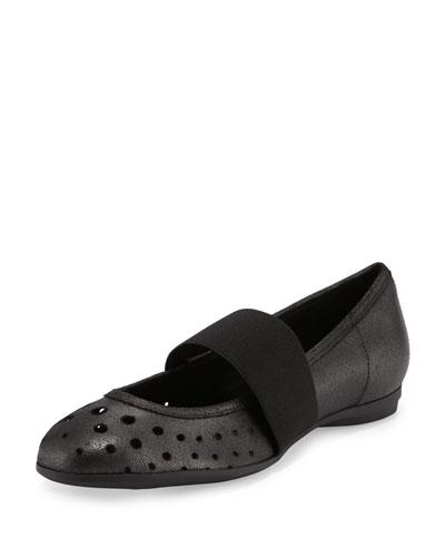 Abia Perforated Ballerina Flat, Black