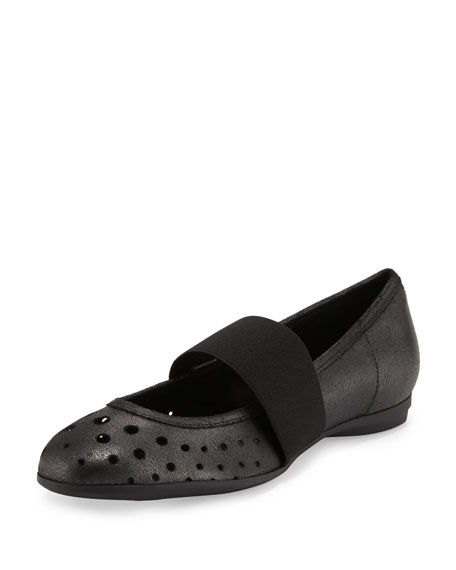 Sesto Meucci Abia Perforated Ballerina Flat, Black