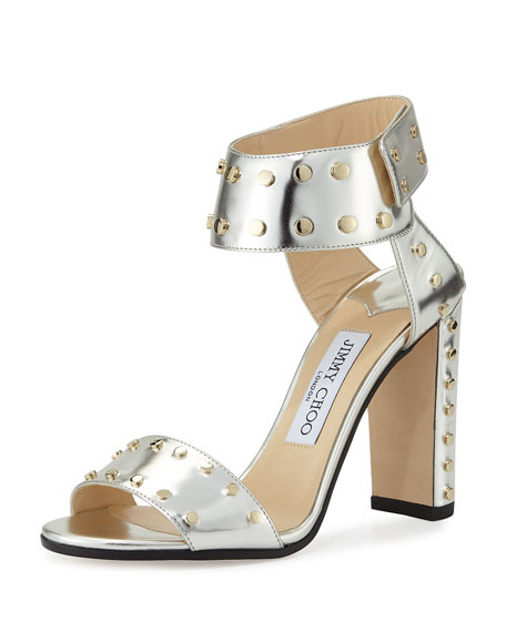 Jimmy Choo Veto Studded Leather 100mm Sandal, Silver/Gold
