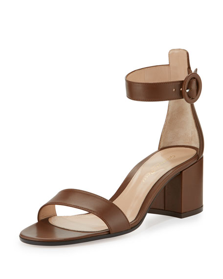 Gianvito Rossi Versilia Leather Chunky-Heel Sandal, Texas