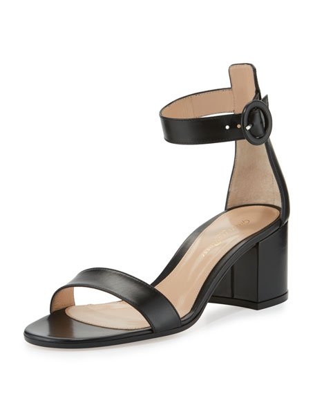 Gianvito Rossi Versilia Leather Chunky-Heel Sandal, Black