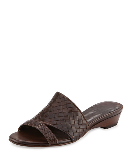 Sesto Meucci Gabri Woven Leather Slide Sandal, Dark