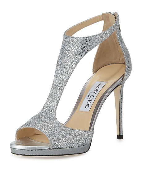 Jimmy ChooLana Glitter T-Strap 100mm Sandal, Silver