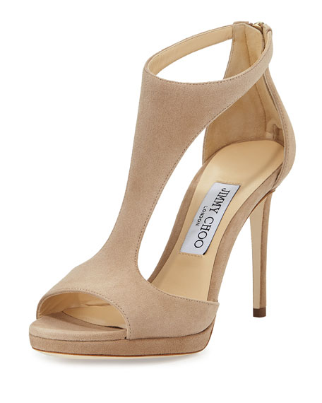 Jimmy ChooLana Suede T-Strap 100mm Sandal, Nude