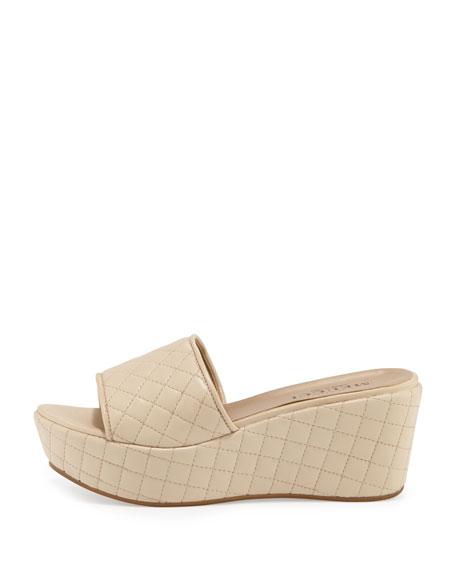 Tahnee Quilted Wedge Slide Sandal, Beige