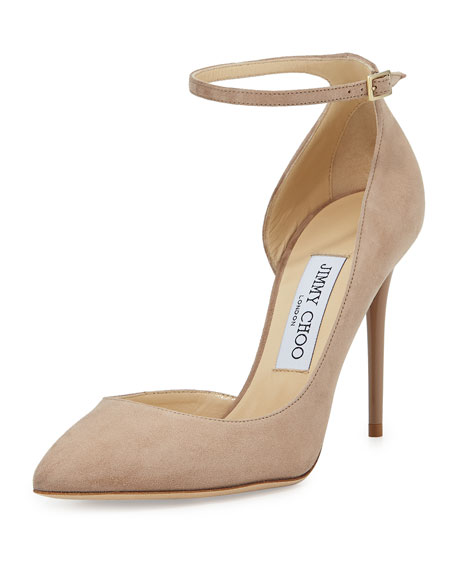 Jimmy ChooLucy Half-d'Orsay Suede Pump, Nude