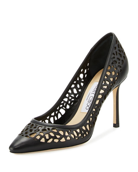 Jimmy ChooRomy Laser-Cut Leather 85mm Pump, Black