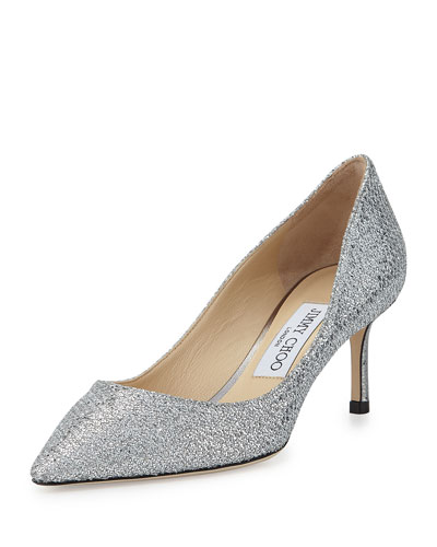 Romy Glitter Pointed-Toe 60mm Pump, Silver