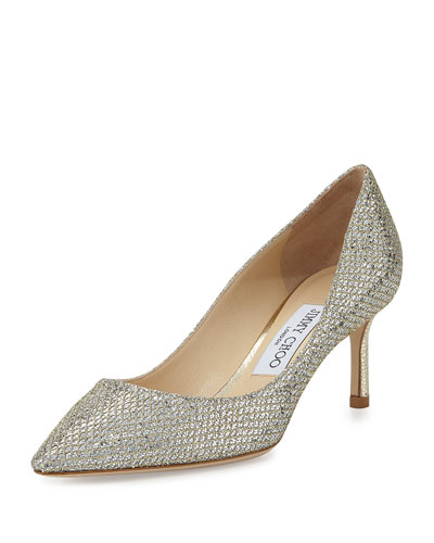 Romy Glitter Pointed-Toe 60mm Pump, Champagne