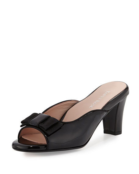 Taryn Rose Fico Open-Toe Bow Mule, Black