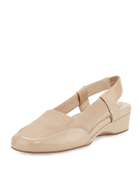 Taryn Rose Kamillie Patent Demi-Wedge Pump, Nude