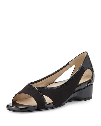 Klouse Open-Toe Demi-Wedge Sandal, Black
