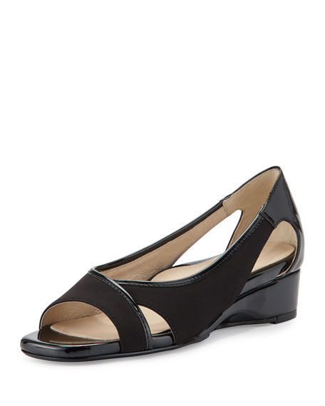 Taryn Rose Klouse Open-Toe Demi-Wedge Sandal, Black
