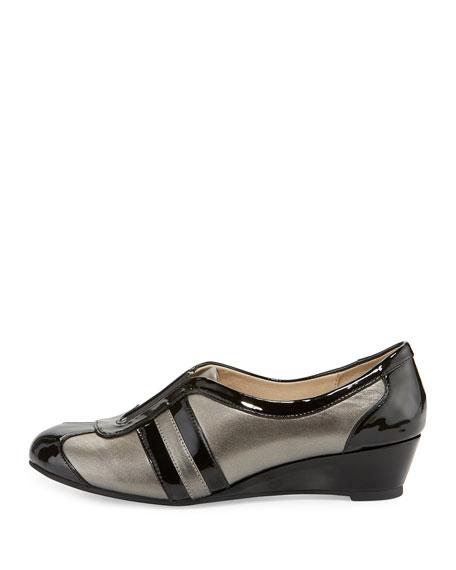 Taryn Rose Paislee Striped Wedge Sneaker, Pewter