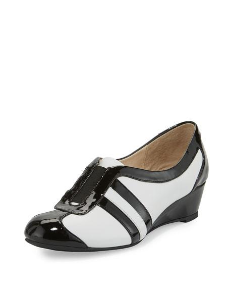 Taryn Rose Paislee Striped Wedge Sneaker, White