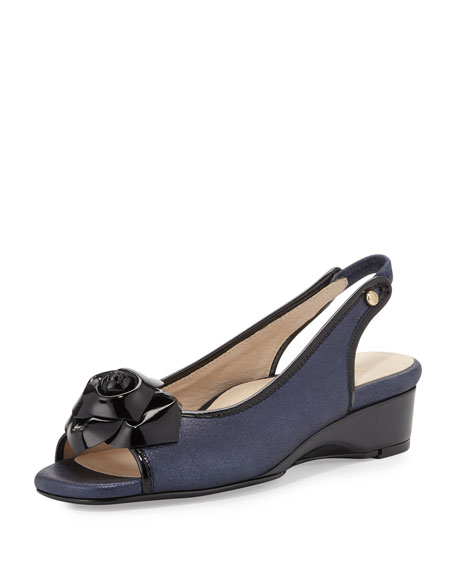 Taryn RoseKarlos Flower Demi-Wedge Sandal, Navy Blue/Black