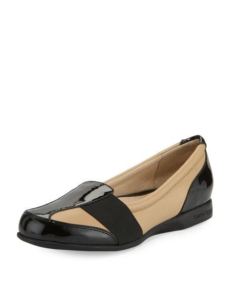 Taryn Rose Taurus Leather Slip-On Sneaker, Nutmeg/Black
