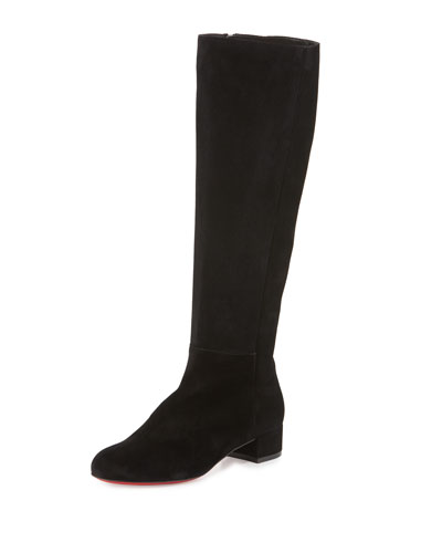 Lili Suede 30mm Red Sole Knee Boot, Black
