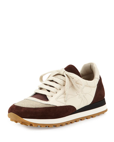 Monili-Panel Embroidered Sneaker, Bordeaux/Cream